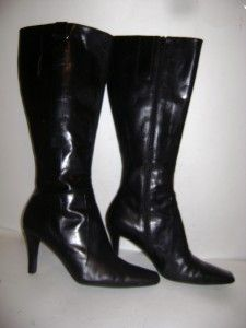 Nine West Mineola Black Leather Knee High Boots Womens 8 1 2 M