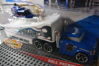Hot Wheels Roll Patrol Police Transport Hauler Truck Bigrig Helicopter