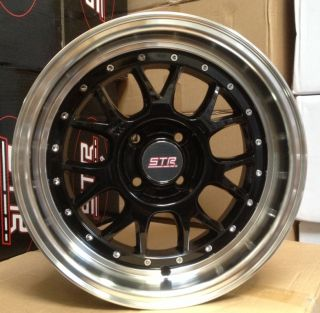 15X8 STR 502 4X100 +10 BLACK WHEEL FIT CIVIC Del Sol CRX Miata MR2 XB