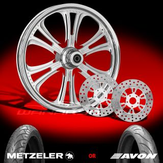 Czar Chrome 21 Front Wheel, Tire & Dual Rotors for 2000 13 Harley