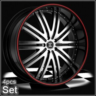 24 Wheels Rims 300C Magnum Charger Challenger Red Ring