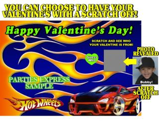HOT WHEELS VALENTINES DAY CARDS *DISCOUNTS AVALIABLE SCRATCH OFF
