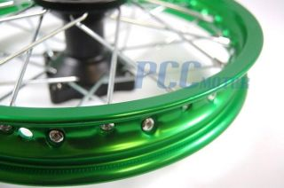 12 Green Rear Rim Wheel Honda XR50 CRF50 SDG SSR 70 107 125cc Pit