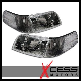 98 10 Ford Crown Victoria Smoke Headlights Corner Lights