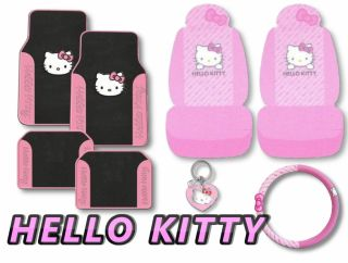Hello Kitty 7pc Pink Bow Floor Mats Seat Covers Car Interior Gift Set