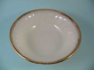 Vintage Fire King Milk Glass Swirl Gold Rim Berry Dessert Bowl