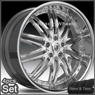 Chrome Wheels and Tires Pkg for Lexus Impala Honda Audi Rims