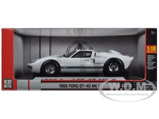 1966 Ford GT 40 MK 2 White w Blue Stripes 1 18 by Shelby Collectibles