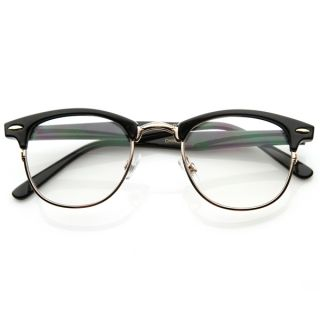 Optical Quality Horned Rim Clear Lens RXAble Half Frame Club Master