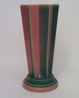 Futura Green & Pink Art Deco Star Pleated Vase 385 8 Excellent Cond