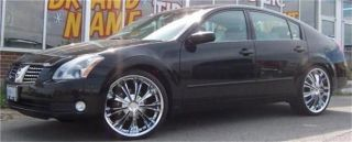 22 inch Chrome Black Inserts Wheels Rims Rockstarr 411