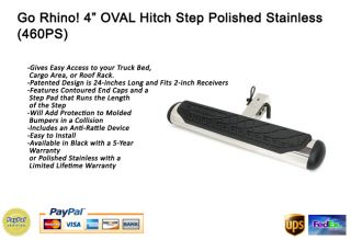 Go Rhino 4 Oval Hitch Step Rear Polished Stainless