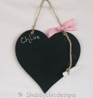 Personalised Heart Shaped Chalkboard Shabby Chic Gift