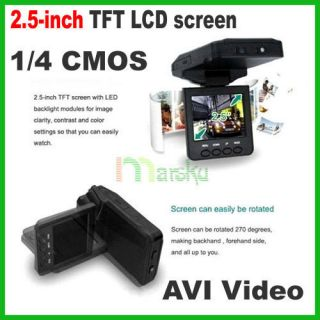 IR LED 270°2.5 TFT LCD Car HD DVR 1/4 color CMOS Camera Audio