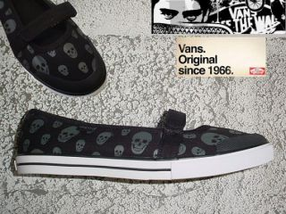 VANS Skull Black Gun Metal Gisele Shoes Sneakers Mary Janes sizes 8