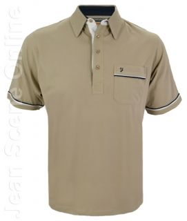 New Mens Farah Polo Jersey Shirt Poly Cotton Beige Stone