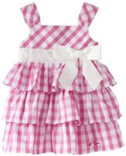 LilyBird Baby girls Infant Print Dress, Pink Plaid/White