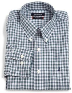 Mens Plaid Poplin Button Up Shirt, Green, 17 32/33 US Clothing
