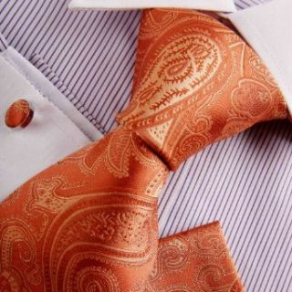 Orange Mens Fashion Tie Youth Dress Shirt Dark Orange