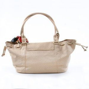 Designer Italian Leather Large Handbag Purse By Vecceli  Beige Shoes