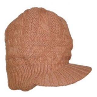 Fownes Womens Tan Knit Winter Hat Newsboy Baseball Cap