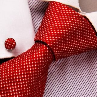 Red Checkered Tie, Cufflinks Gift Box Set Cheap Neckties