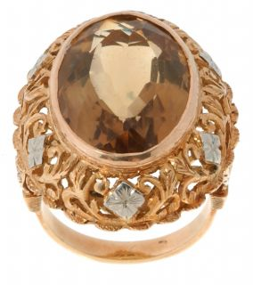 18 kt. Yellow Gold & Citrine Estate Ring