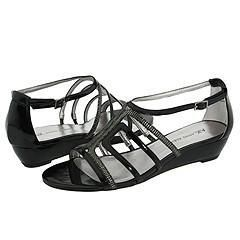 AK Anne Klein Asif Black Pewter Synthetic Sandals