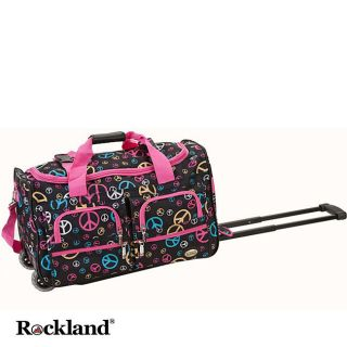 Rockland Peace Sign 22 inch Carry On Rolling Duffel Bag