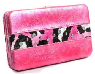 Pink Cheetah Design Hard Case Wallet Clutch Shoes