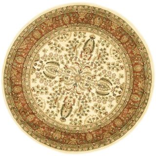 Lyndhurst Collection Oriental Ivory/ Rust Rug (8 Round)