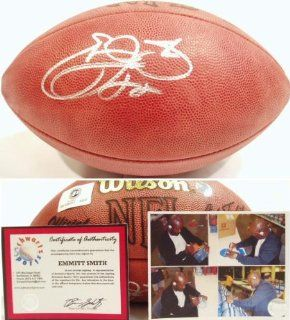 Emmitt Smith Signed Wilson NFL Game Football Sports