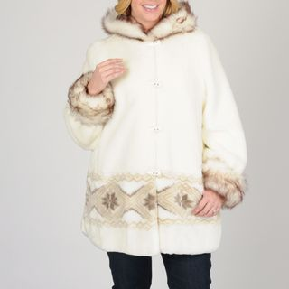 Nuage Womens Faux Fur Short Coat with Design
