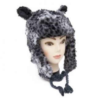 Womens/Ladies Animal Print Faux Fur Winter Trapper Hat