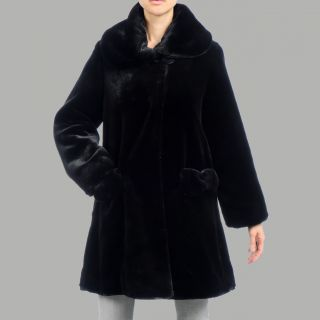 Nuage Womens Black Beaver Faux Fur Short Coat
