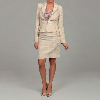 Anne Klein Womens Cream Metallic Skirt Suit