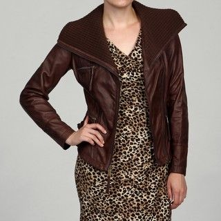 MICHAEL Michael Kors Womens Chocolate Leather Knit Collar Jacket