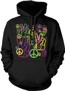 Peace Sign and Symbols Neon Hooded Sweatshirt, Peace And