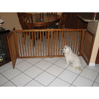 Crown Pet 40 74.5 in Wide Span Chestnut Brown All Wood Pet Gate