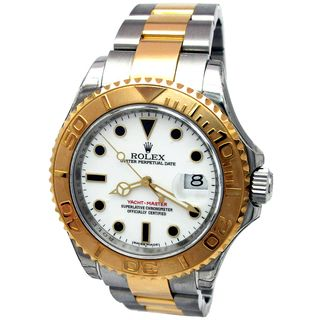 Pre owned Rolex Mens 18k Yellow Gold Steel Yachtmaster Watch