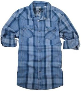 Guess Mens Designer Plaid Snap Button Down Shirt (X Large