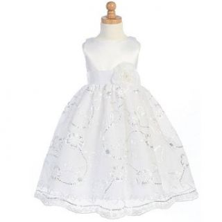 Lito Girls White Satin Flower Girl Easter Dress 2T Lito