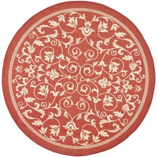 Red/ Natural Indoor Outdoor Rug (53 Round)