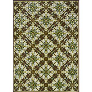 Brown/ Ivory Outdoor Area Rug (67 x 96)