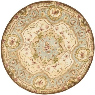 Handmade Aubusson Plaisir Ivory/ Light Blue Wool Rug (6 Round