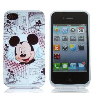 iPhone 4S / 4G / 4 Mickey Mouse Winking Disney White Comic