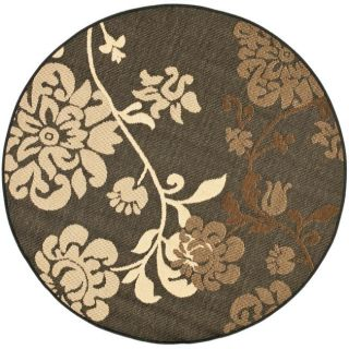 Indoor/ Outdoor Black/ Brown Rug (67 Round)