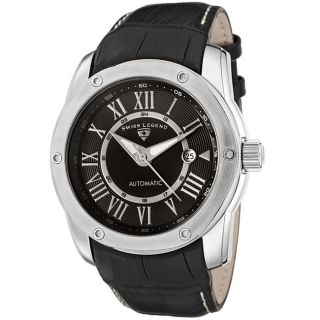 Swiss Legend Mens Traveler Black Leather Automatic Watch
