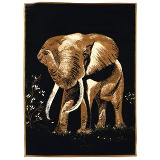 African Adventure Elephant Black Area Rug (5 x 7)