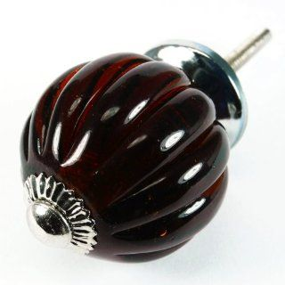 Dark Amber Pumpkin Glass Cabinet Knobs, Drawer Pulls & Handle Set/8pc